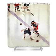 One Two Punch Shower Curtain by Karol Livote