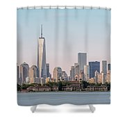 One World Trade Center And Ellis Island 2 Shower Curtain by Susan Candelario