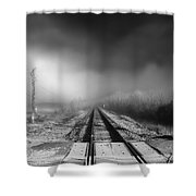 Onward - Railroad Tracks - Fog Shower Curtain by Jason Politte