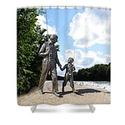 Opie And Andy Go Fishin Shower Curtain by David Arment