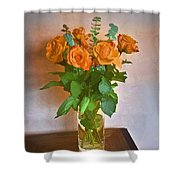 Orange And Green Shower Curtain by John Hansen