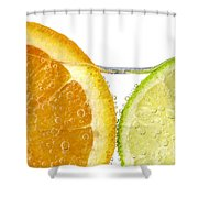 Orange And Lime Slices In Water Shower Curtain by Elena Elisseeva