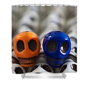 Orange And Navy Blue Shower Curtain by Mike Herdering