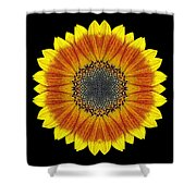 Orange and Yellow Sunflower Flower Mandala Shower Curtain by David J Bookbinder