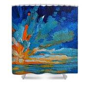 Orange Blue Sunset Landscape Shower Curtain by Patricia Awapara