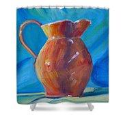 Orange Pitcher Still Life Shower Curtain by Donna Tuten