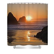 Orange Sunset Behind Offshore Rocks Shower Curtain by Philippe Widling
