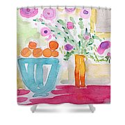 Oranges In Blue Bowl- Watercolor Painting Shower Curtain by Linda Woods