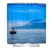 Orcas Sailboat Shower Curtain by Inge Johnsson