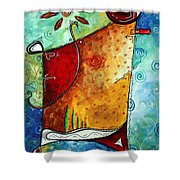 Original Abstract Pop Art Style Colorful Landscape Painting Home To Tuscany By Megan Duncanson Shower Curtain by Megan Duncanson