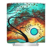 Original Bold Colorful Abstract Landscape Painting Family Joy II By Madart Shower Curtain by Megan Duncanson
