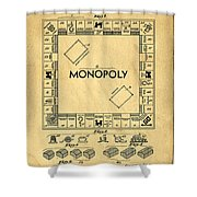 Original Patent For Monopoly Board Game Shower Curtain by Edward Fielding