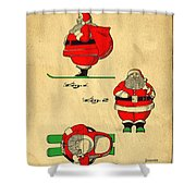 Original Patent For Santa On Skis Figure Shower Curtain by Edward Fielding