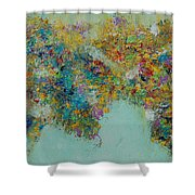 Worldly Flowers Shower Curtain by Sara Gardner