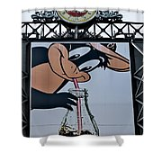 Orioles Mascot Drinks Coca Cola Shower Curtain by Susan Candelario