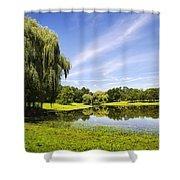 Otsiningo Park Reflection Landscape Shower Curtain by Christina Rollo