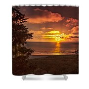 Pacific Sunset Shower Curtain by Robert Bales