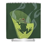 Pacific Tree Frog In Skunk Cabbage Shower Curtain by Nathan Marcy