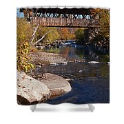 Packard Hill Bridge Lebanon New Hampshire Shower Curtain by Edward Fielding