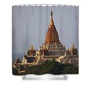 Pagoda In Bagan, Upper Burma Myanmar Shower Curtain by Chris Caldicott