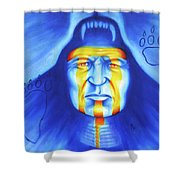 Painted Bear Shower Curtain by Robert Martinez