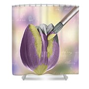 Painting A Tulip Shower Curtain by Amanda And Christopher Elwell