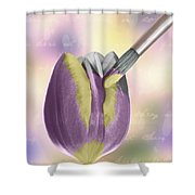 Painting A Tulip Shower Curtain by Amanda Elwell