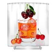 Painting On Sweet Cherries Miniature Art Shower Curtain by Paul Ge