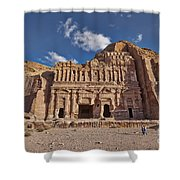 Palace Tomb In Nabataean Ancient Town Petra Shower Curtain by Juergen Ritterbach