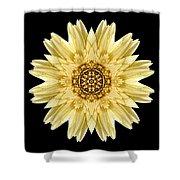 Pale Yellow Gerbera Daisy I Flower Mandala Shower Curtain by David J Bookbinder