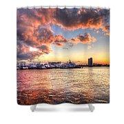 Palm Beach Harbor With West Palm Beach Skyline Shower Curtain by Debra and Dave Vanderlaan