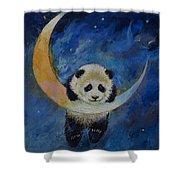 Panda Stars Shower Curtain by Michael Creese