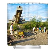 Panning For Gold In Chicken-ak- Shower Curtain by Ruth Hager