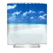 Panorama of deserted sandy beach and island Maldives Shower Curtain by Matteo Colombo