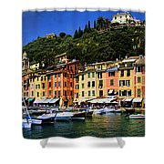Panorama Of Portofino Harbour Italian Riviera Shower Curtain by David Smith