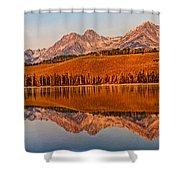 Panoramic Of Little Redfish Lake Shower Curtain by Robert Bales