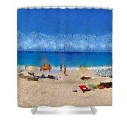 Panoramic Painting Of Porto Katsiki Beach Shower Curtain by George Atsametakis