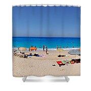 Panoramic View Of Porto Katsiki Beach Shower Curtain by George Atsametakis
