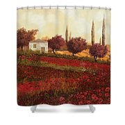 Papaveri In Toscana Shower Curtain by Guido Borelli