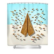 Paper Airplanes Of Wood 10 Shower Curtain by YoPedro