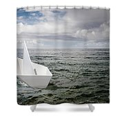 Paper Boat Shower Curtain by Carlos Caetano