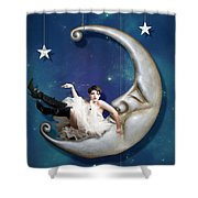 Paper Moon Shower Curtain by Linda Lees