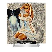 Papillon Art - Una Parisienne Movie Poster Shower Curtain by Sandra Sij