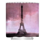 Paris Dreamy Pink Eiffel Tower Abstract Art - Romantic Eiffel Tower With Pink Clouds Shower Curtain by Kathy Fornal