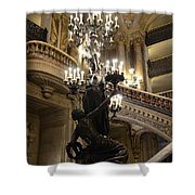 Paris Opera House Grand Staircase And Chandeliers - Paris Opera Garnier Statues And Architecture  Shower Curtain by Kathy Fornal