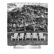 Park under the Oaks Shower Curtain by Debra and Dave Vanderlaan