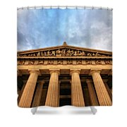 Parthenon From Below Shower Curtain by Dan Sproul