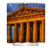 Parthenon On A Stormy Day Shower Curtain by Dan Sproul