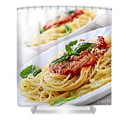 Pasta And Tomato Sauce Shower Curtain by Elena Elisseeva