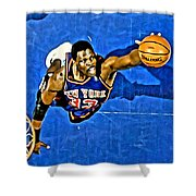 Patrick Ewing Shower Curtain by Florian Rodarte